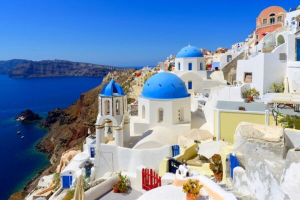 Colorful Oia Village at Santorini  Greece